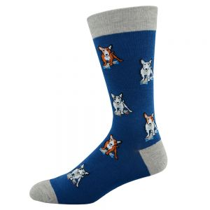 Bamboozld Bull Terrier Bamboo Sock - Denim/Grey