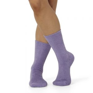 WOMENS FEATHERED BAMBOO BED SOCK - LAVENDER