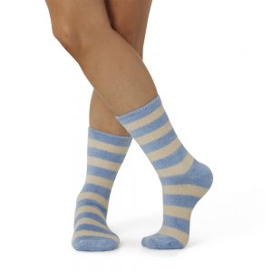 WOMENS FEATHERED BAMBOO BED SOCK - BLUE STRIPE