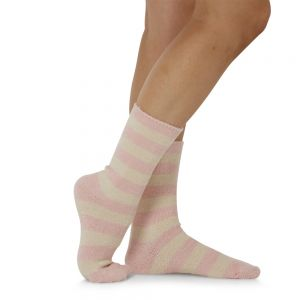 WOMENS COMFY BRUSHED BAMBOO BED SOCK - PINK STRIPED