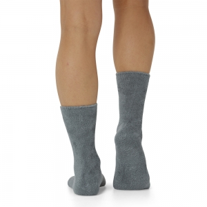 WOMENS FEATHERED BAMBOO BED SOCK - DUCK EGG